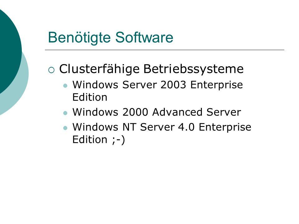 Benötigte Software Clusterfähige Anwendungen File & Print out of the Box SQL Server, Exchange Server: Enterprise Edition Normale Dienste können mit Einschränkungen vom Cluster verwaltet werden Wenn man unbedingt will, auch IIS (ab 2000), Terminal Services (ab 2003), WINS, DHCP, … Hierfür gibt es aber geeignetere Mittel