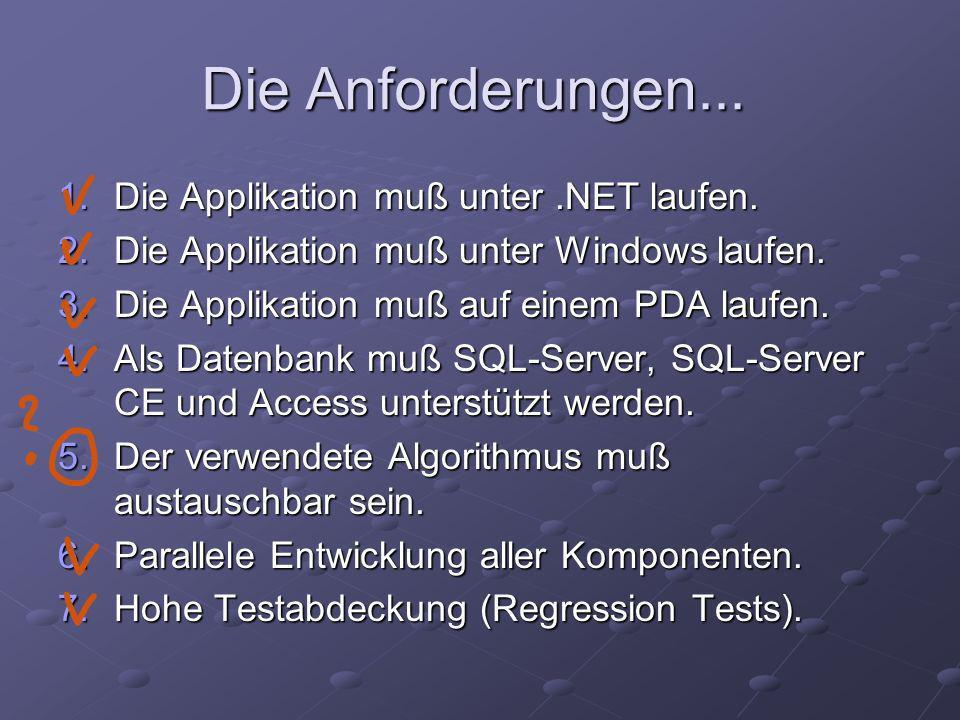 Die Anforderungen... 1.Die Applikation muß unter.NET laufen.