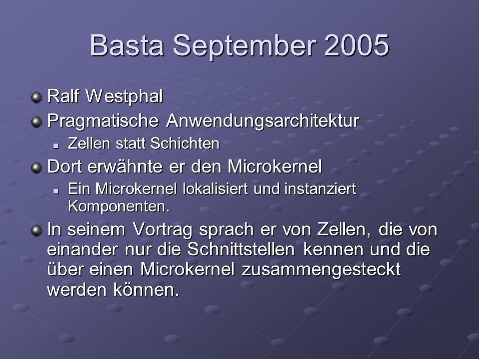 Basta September 2005 Ralf Westphal Pragmatische Anwendungsarchitektur Zellen statt Schichten Zellen statt Schichten Dort erwähnte er den Microkernel Ein Microkernel lokalisiert und instanziert Komponenten.
