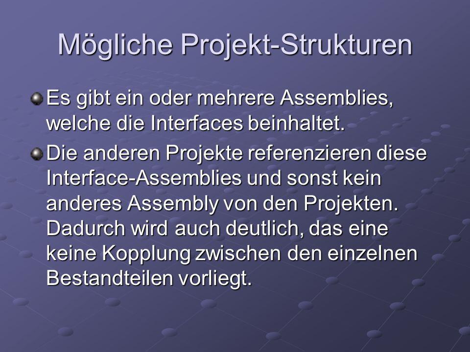 Mögliche Projekt-Strukturen Es gibt ein oder mehrere Assemblies, welche die Interfaces beinhaltet.