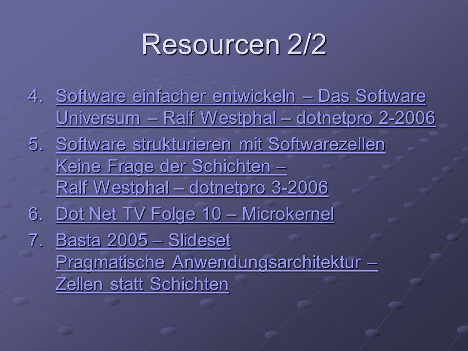 Resourcen 2/2 4.Software einfacher entwickeln – Das Software Universum – Ralf Westphal – dotnetpro 2-2006 Software einfacher entwickeln – Das Software Universum – Ralf Westphal – dotnetpro 2-2006Software einfacher entwickeln – Das Software Universum – Ralf Westphal – dotnetpro 2-2006 5.Software strukturieren mit Softwarezellen Keine Frage der Schichten – Ralf Westphal – dotnetpro 3-2006 Software strukturieren mit Softwarezellen Keine Frage der Schichten – Ralf Westphal – dotnetpro 3-2006Software strukturieren mit Softwarezellen Keine Frage der Schichten – Ralf Westphal – dotnetpro 3-2006 6.Dot Net TV Folge 10 – Microkernel Dot Net TV Folge 10 – MicrokernelDot Net TV Folge 10 – Microkernel 7.Basta 2005 – Slideset Pragmatische Anwendungsarchitektur – Zellen statt Schichten Basta 2005 – Slideset Pragmatische Anwendungsarchitektur – Zellen statt SchichtenBasta 2005 – Slideset Pragmatische Anwendungsarchitektur – Zellen statt Schichten