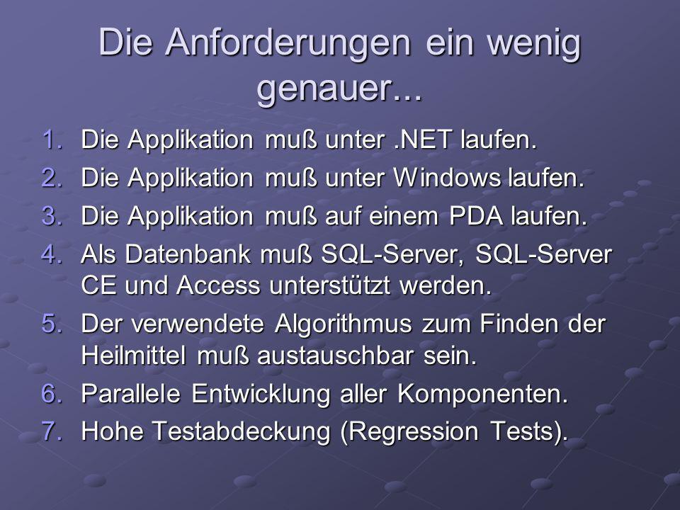 Die Anforderungen ein wenig genauer... 1.Die Applikation muß unter.NET laufen.