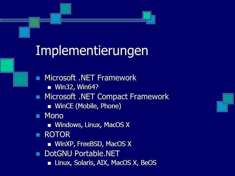 Implementierungen Microsoft.NET Framework Win32, Win64.