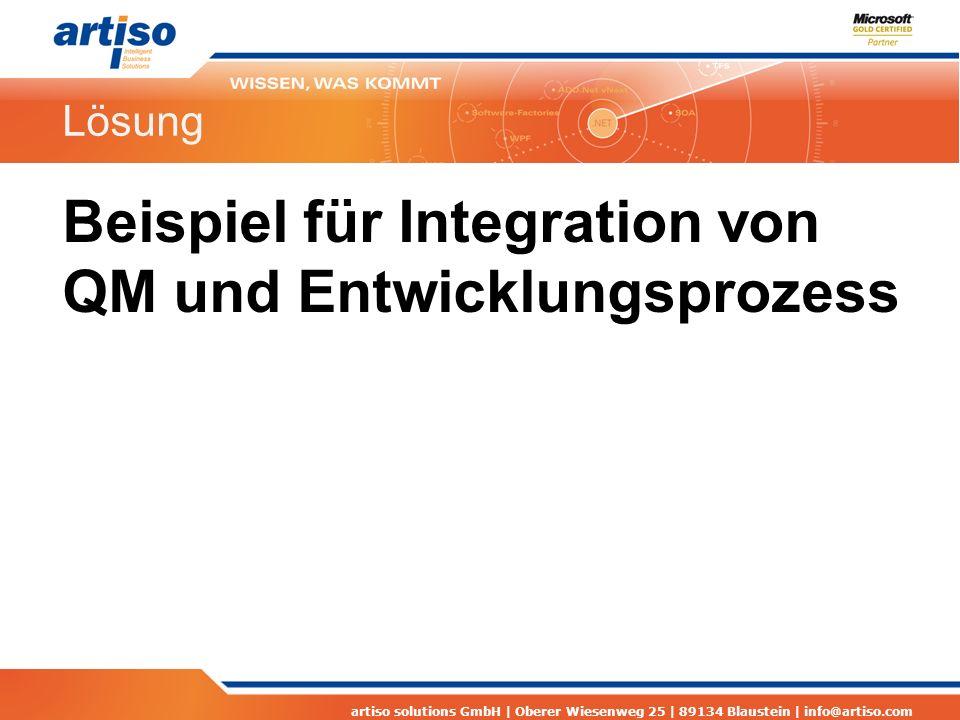 artiso solutions GmbH | Oberer Wiesenweg 25 | 89134 Blaustein | info@artiso.com Lösung Beispiel für Integration von QM und Entwicklungsprozess