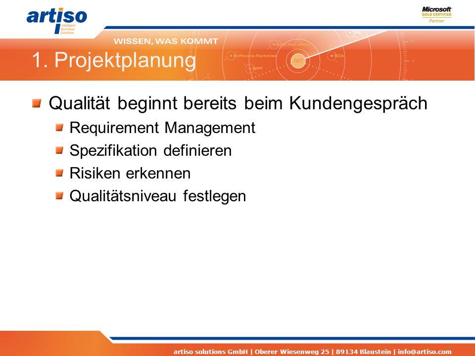 artiso solutions GmbH | Oberer Wiesenweg 25 | 89134 Blaustein | info@artiso.com 1. Projektplanung Qualität beginnt bereits beim Kundengespräch Require
