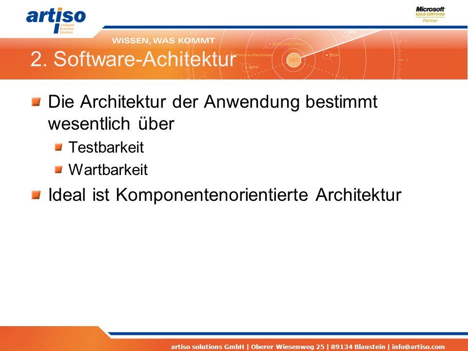 artiso solutions GmbH | Oberer Wiesenweg 25 | 89134 Blaustein | info@artiso.com 2. Software-Achitektur Die Architektur der Anwendung bestimmt wesentli