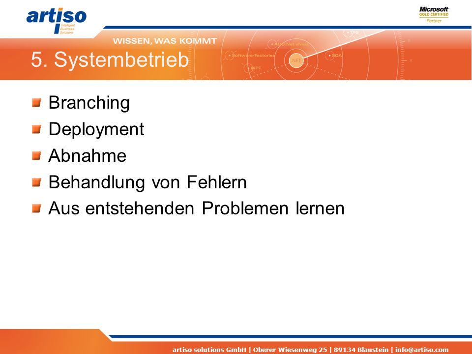 artiso solutions GmbH | Oberer Wiesenweg 25 | 89134 Blaustein | info@artiso.com 5. Systembetrieb Branching Deployment Abnahme Behandlung von Fehlern A