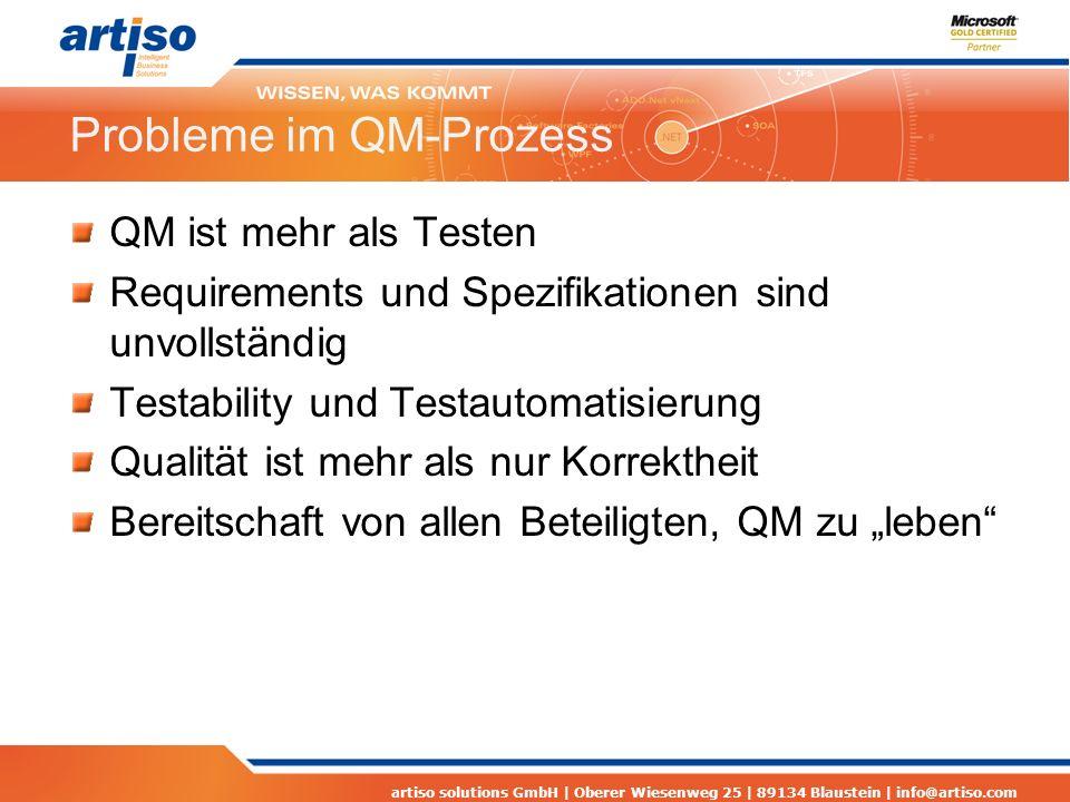artiso solutions GmbH | Oberer Wiesenweg 25 | 89134 Blaustein | info@artiso.com Probleme im QM-Prozess QM ist mehr als Testen Requirements und Spezifi