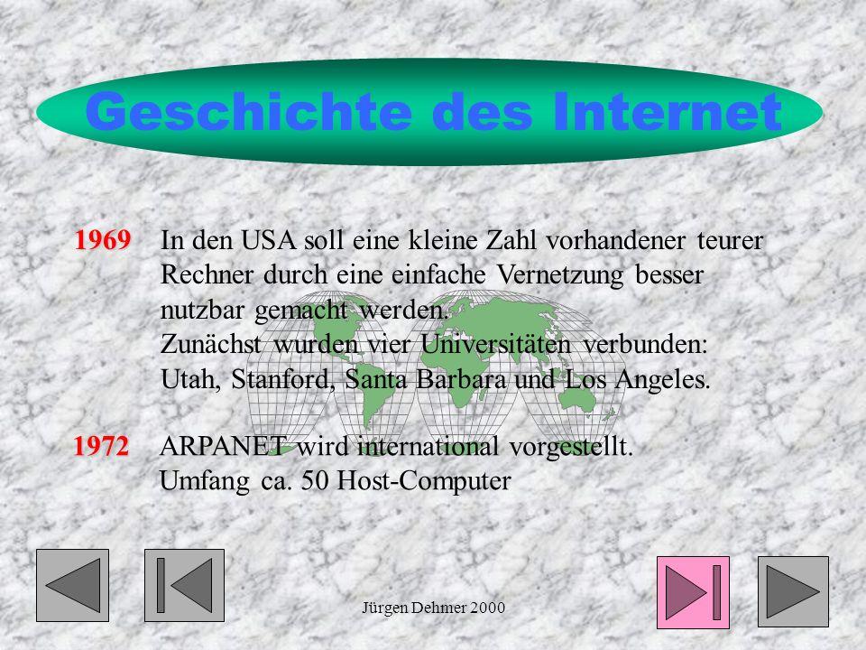 Jürgen Dehmer 20002 Geschichte des Internet 1969 1969In den USA soll eine kleine Zahl vorhandener teurer Rechner durch eine einfache Vernetzung besser nutzbar gemacht werden.