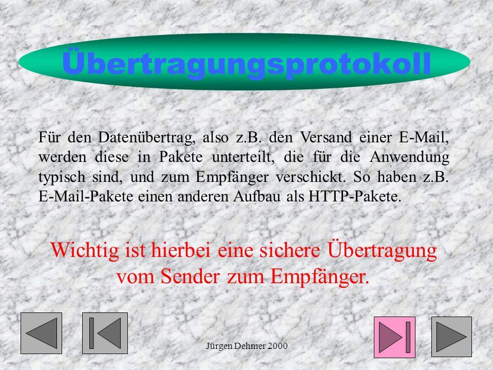 Jürgen Dehmer 20007 Übertragungsprotokoll Für den Datenübertrag, also z.B.