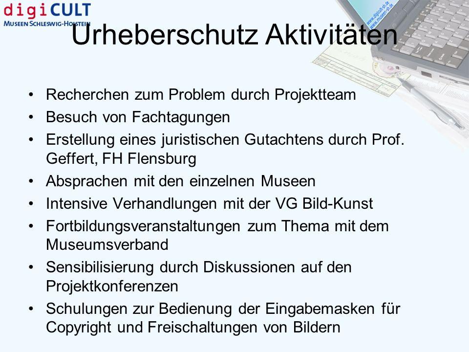 Urheberschutz Aktivitäten Recherchen zum Problem durch Projektteam Besuch von Fachtagungen Erstellung eines juristischen Gutachtens durch Prof. Geffer