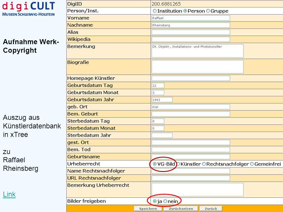 Auszug aus Künstlerdatenbank in xTree zu Raffael Rheinsberg Link Aufnahme Werk- Copyright
