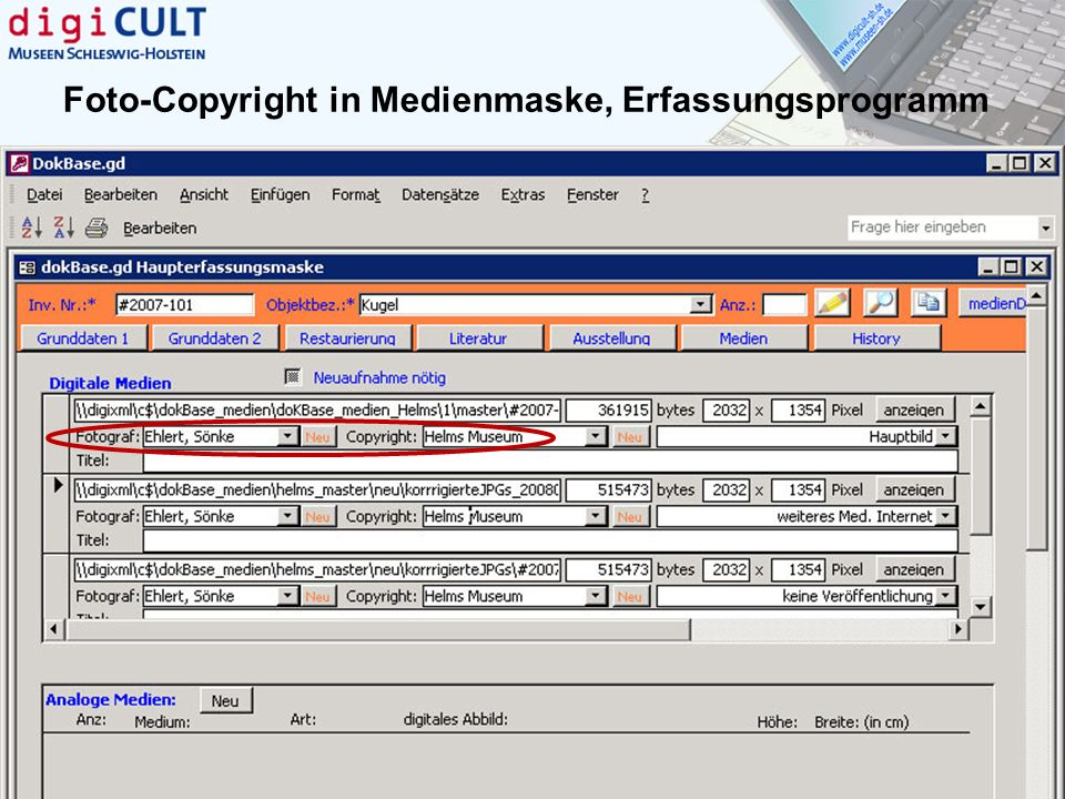 Foto-Copyright in Medienmaske, Erfassungsprogramm