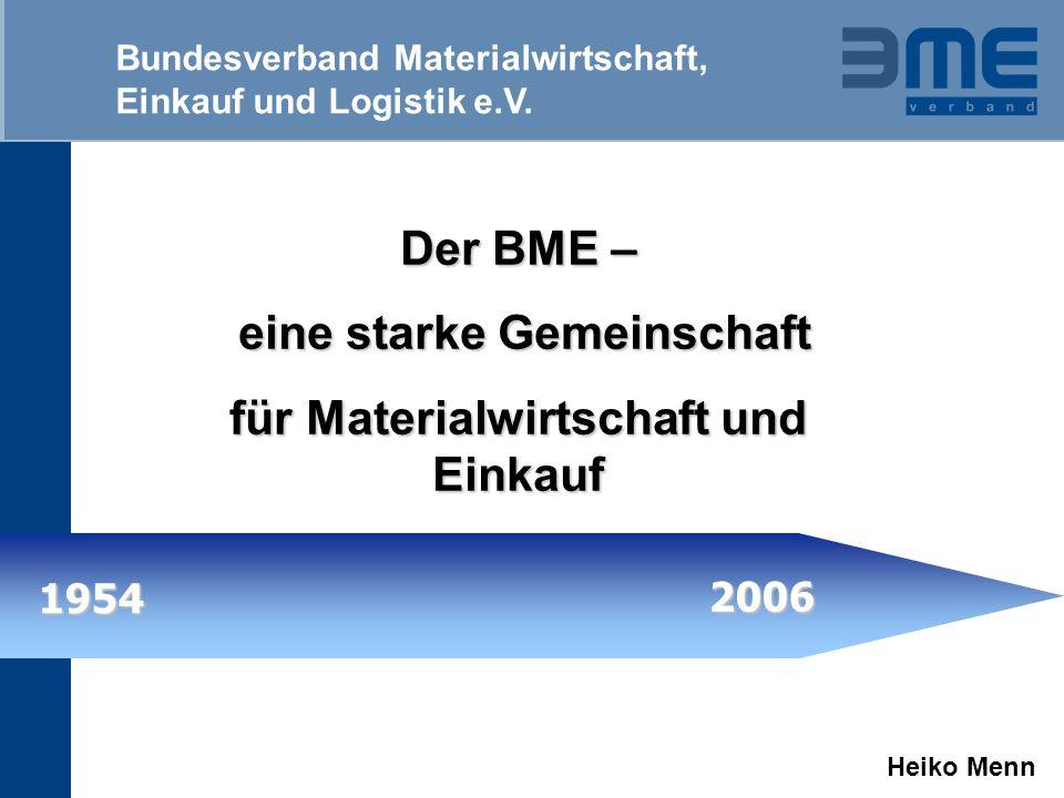 Bundesverband Materialwirtschaft, Einkauf und Logistik e.V. Der BME – eine starke Gemeinschaft für Materialwirtschaft und Einkauf 1954 2006 Heiko Menn