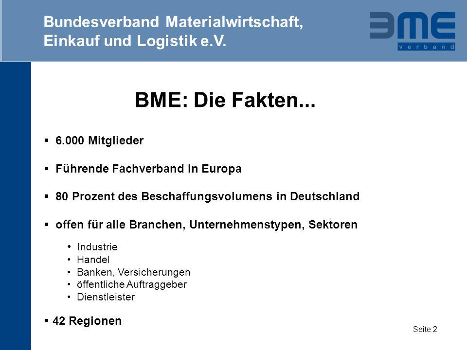 BME: Die Fakten... 6.000 Mitglieder Führende Fachverband in Europa 80 Prozent des Beschaffungsvolumens in Deutschland offen für alle Branchen, Unterne
