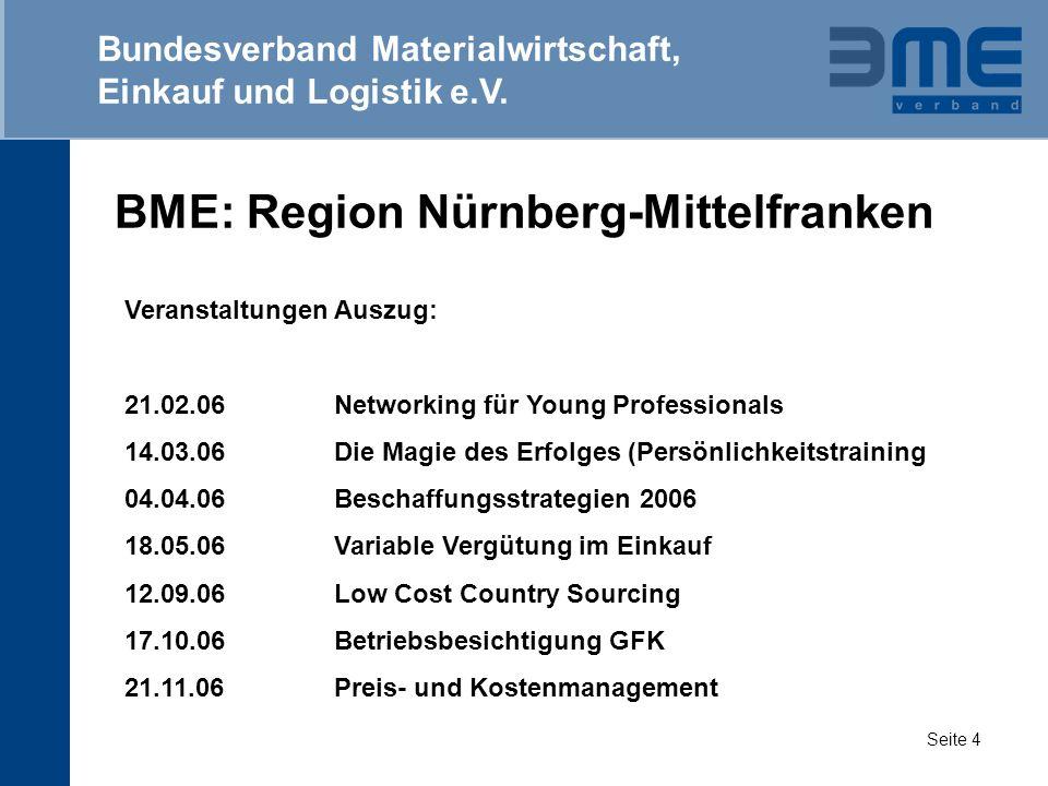 BME: Region Nürnberg-Mittelfranken Bundesverband Materialwirtschaft, Einkauf und Logistik e.V. Seite 4 Veranstaltungen Auszug: 21.02.06Networking für