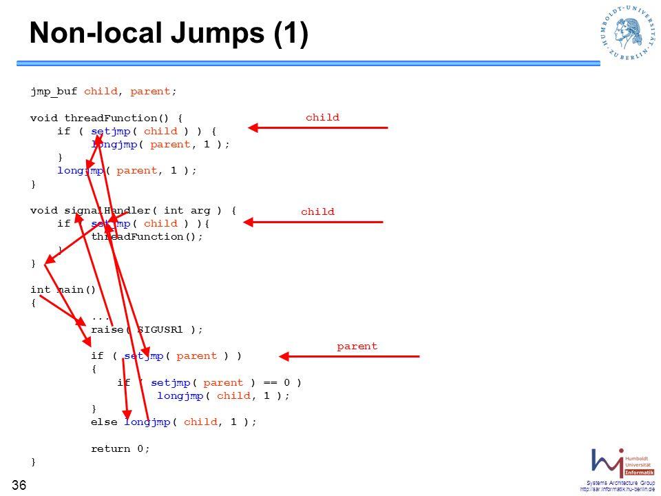 Systems Architecture Group http://sar.informatik.hu-berlin.de 36 Non-local Jumps (1) jmp_buf child, parent; void threadFunction() { if ( setjmp( child