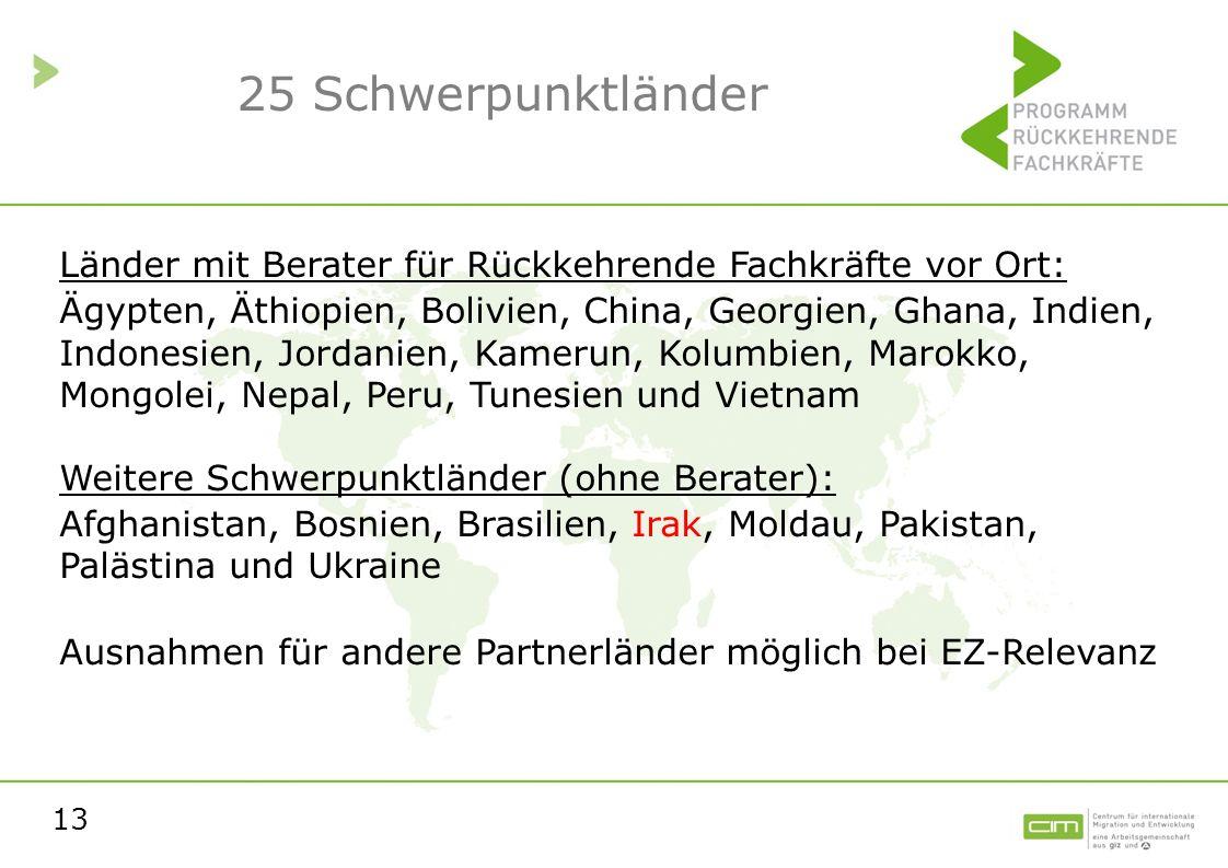 13 25 Schwerpunktländer Länder mit Berater für Rückkehrende Fachkräfte vor Ort: Ägypten, Äthiopien, Bolivien, China, Georgien, Ghana, Indien, Indonesi