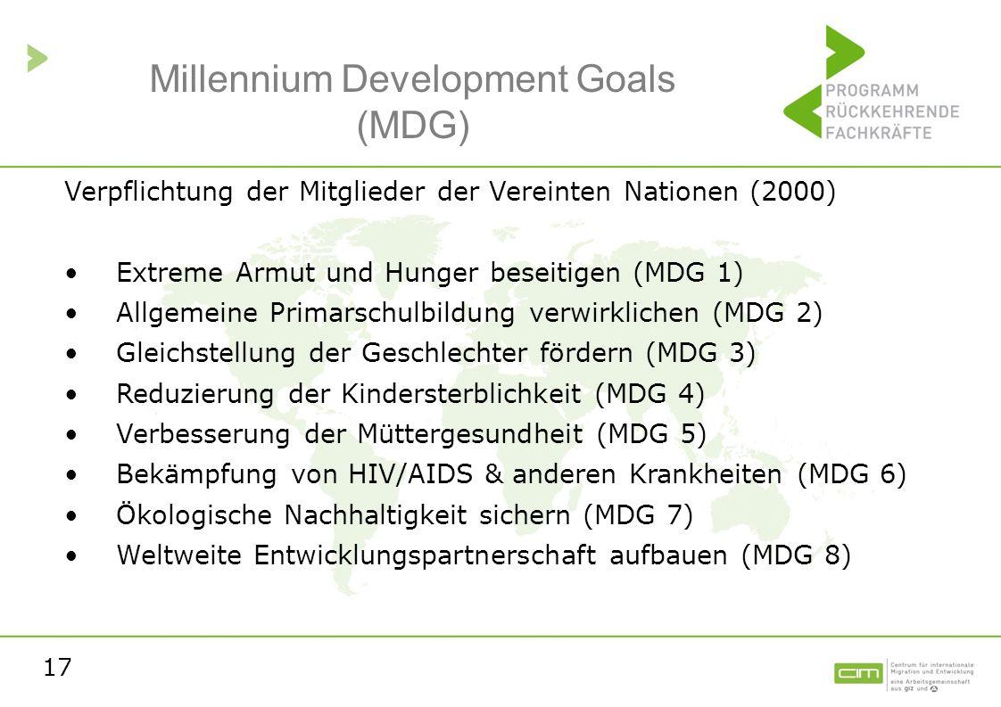 17 Millennium Development Goals (MDG) Verpflichtung der Mitglieder der Vereinten Nationen (2000) Extreme Armut und Hunger beseitigen (MDG 1) Allgemein
