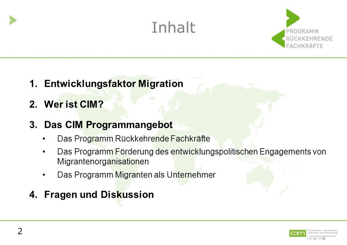 2 Inhalt 1.Entwicklungsfaktor Migration 2.Wer ist CIM? 3.Das CIM Programmangebot Das Programm Rückkehrende Fachkräfte Das Programm Förderung des entwi