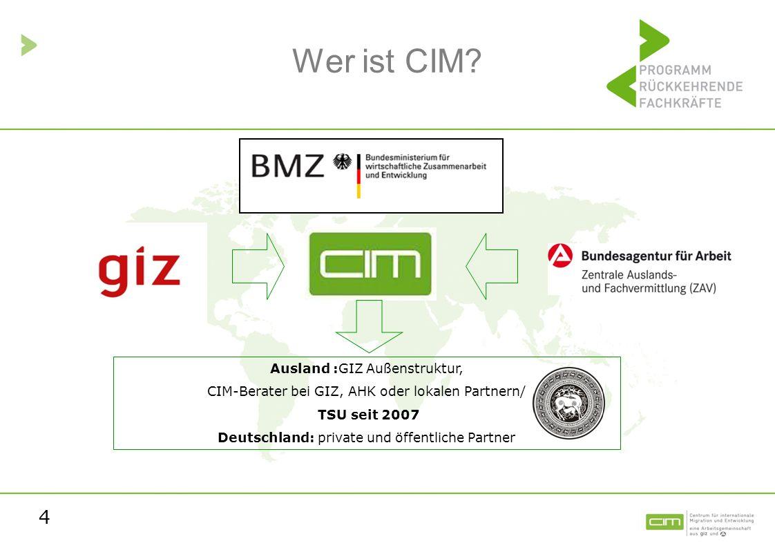 4 Wer ist CIM? Ausland :GIZ Außenstruktur, CIM-Berater bei GIZ, AHK oder lokalen Partnern/ TSU seit 2007 Deutschland: private und öffentliche Partner