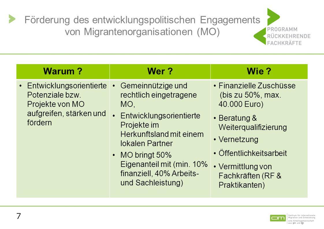 7 Förderung des entwicklungspolitischen Engagements von Migrantenorganisationen (MO) Warum ?Wer ?Wie ? Entwicklungsorientierte Potenziale bzw. Projekt