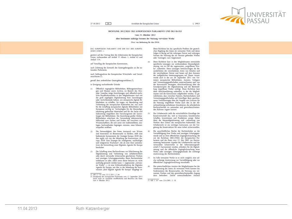 Betroffene Regelungen Zweitveröffentlichungsrecht, § 38 UrhG-E Verwaiste Werke, §§ 61 ff.