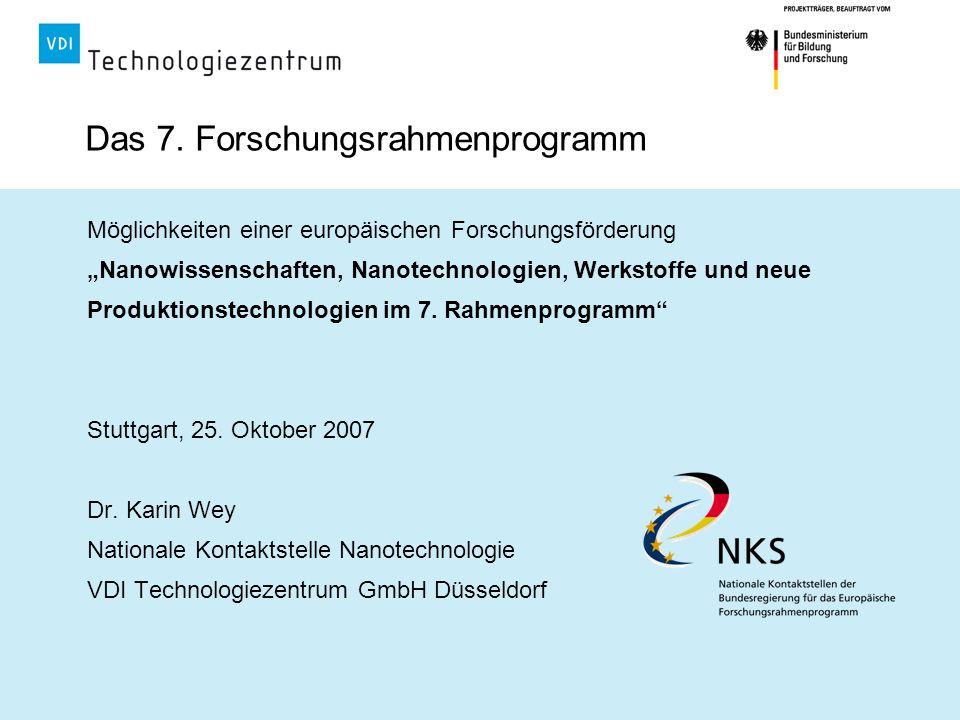 Das 7. Forschungsrahmenprogramm Möglichkeiten einer europäischen Forschungsförderung Nanowissenschaften, Nanotechnologien, Werkstoffe und neue Produkt