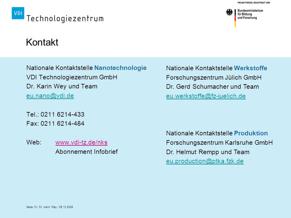 Seite 10 / Dr. Karin Wey / 25.10.2006 Kontakt Nationale Kontaktstelle Nanotechnologie VDI Technologiezentrum GmbH Dr. Karin Wey und Team eu.nano@vdi.d