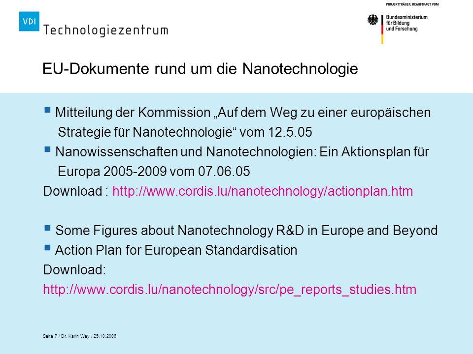 Seite 7 / Dr. Karin Wey / 25.10.2006 EU-Dokumente rund um die Nanotechnologie Mitteilung der Kommission Auf dem Weg zu einer europäischen Strategie fü