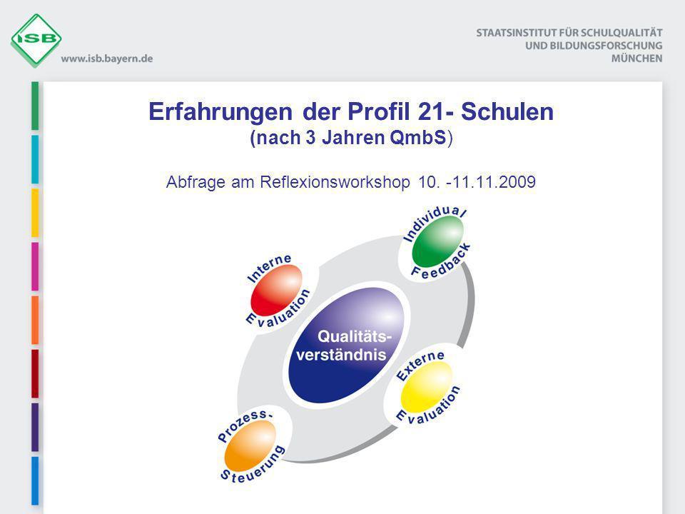 Erfahrungen der Profil 21- Schulen (nach 3 Jahren QmbS) Abfrage am Reflexionsworkshop 10.