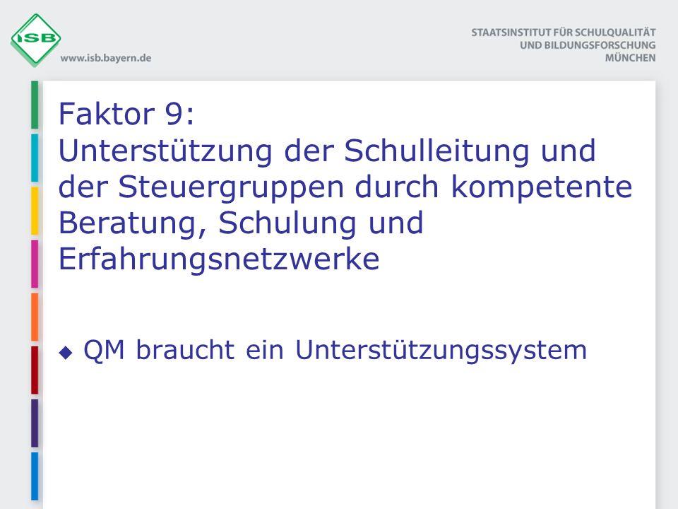 Faktor 9: Unterstützung der Schulleitung und der Steuergruppen durch kompetente Beratung, Schulung und Erfahrungsnetzwerke QM braucht ein Unterstützungssystem