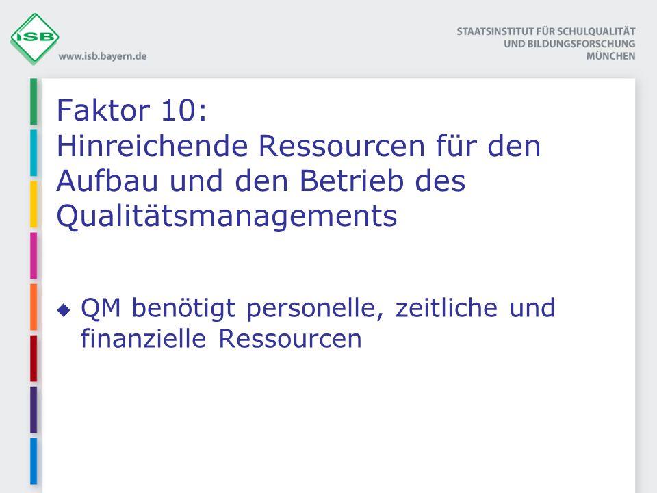 Faktor 10: Hinreichende Ressourcen für den Aufbau und den Betrieb des Qualitätsmanagements QM benötigt personelle, zeitliche und finanzielle Ressourcen