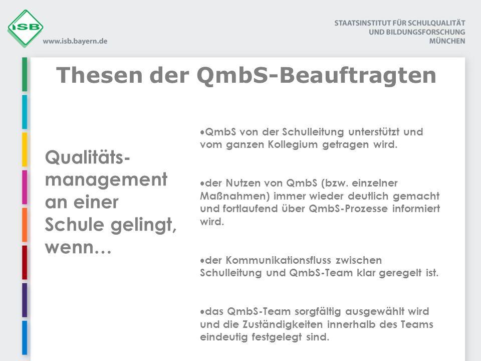 Thesen der QmbS-Beauftragten Qualitäts- management an einer Schule gelingt, wenn… QmbS von der Schulleitung unterstützt und vom ganzen Kollegium getragen wird.
