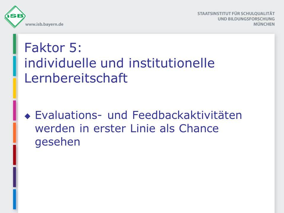 Faktor 5: individuelle und institutionelle Lernbereitschaft Evaluations- und Feedbackaktivitäten werden in erster Linie als Chance gesehen