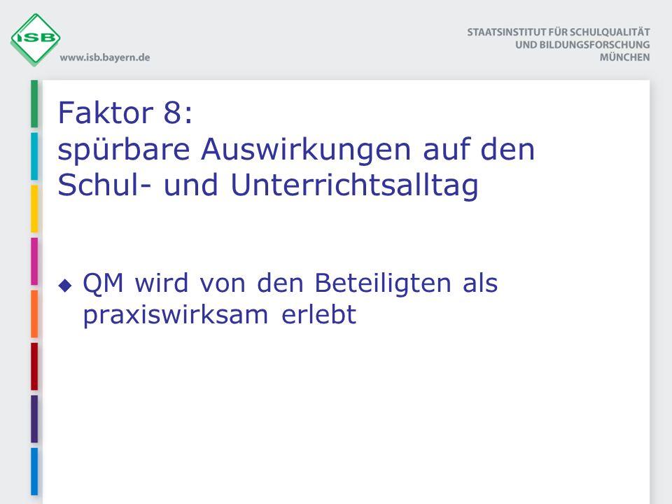 Faktor 8: spürbare Auswirkungen auf den Schul- und Unterrichtsalltag QM wird von den Beteiligten als praxiswirksam erlebt