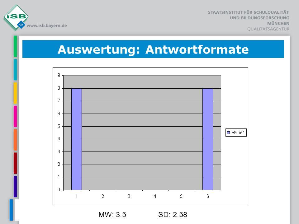 MW: 3.5SD: 2.58 Auswertung: Antwortformate