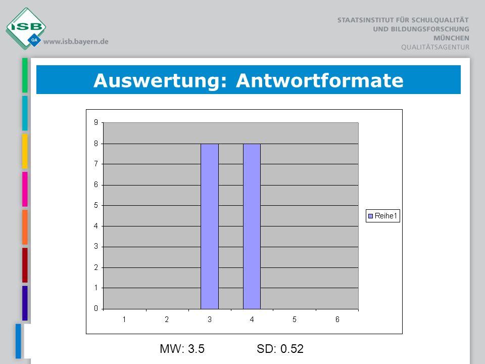 MW: 3.5SD: 0.52 Auswertung: Antwortformate