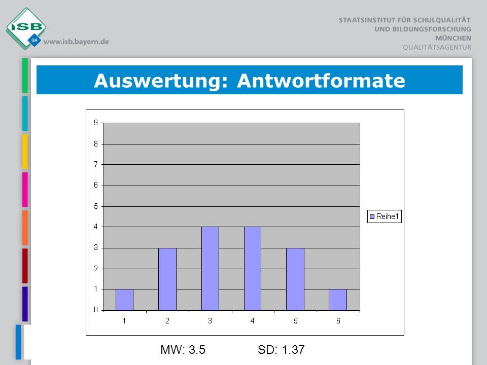 MW: 3.5SD: 1.37 Auswertung: Antwortformate