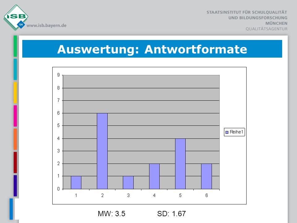 MW: 3.5SD: 1.67 Auswertung: Antwortformate