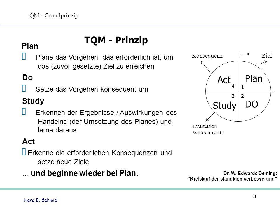 Hans B. Schmid 33 Plan Plane das Vorgehen, das erforderlich ist, um das (zuvor gesetzte) Ziel zu erreichen Do Setze das Vorgehen konsequent um Study E