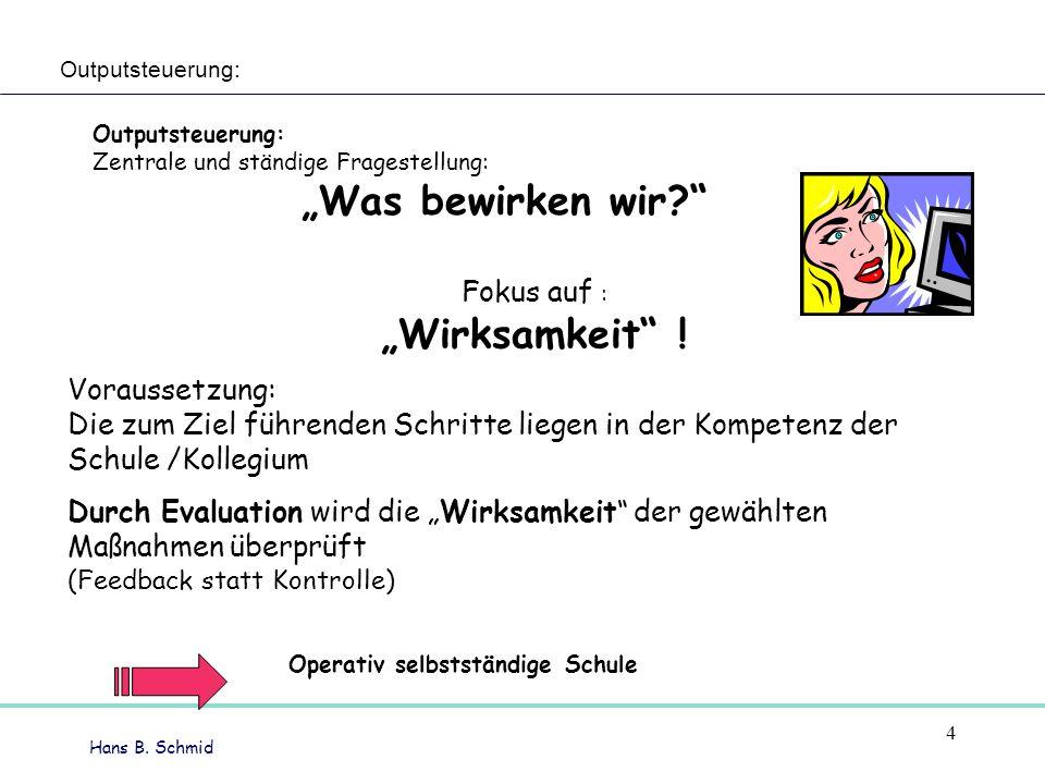 Hans B.Schmid Fokus auf : Wirksamkeit .