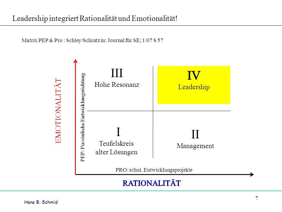 Hans B. Schmid 7 Leadership integriert Rationalität und Emotionalität! Matrix PEP & Pro : Schley/Schratz in: Journal für SE; 1/07 S 57 III Hohe Resona