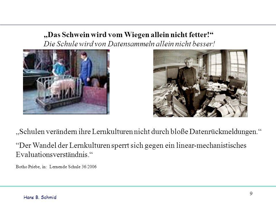 Hans B.Schmid 9 Das Schwein wird vom Wiegen allein nicht fetter.