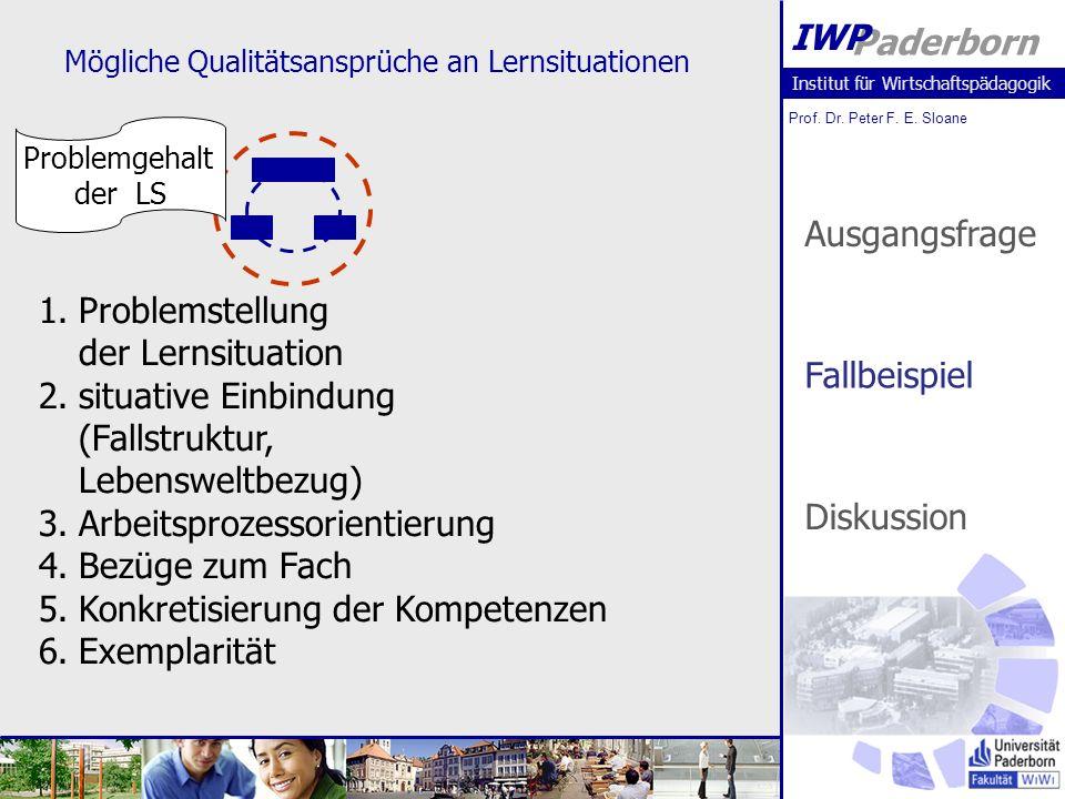 Institut für Wirtschaftspädagogik Prof. Dr. Peter F. E. Sloane Paderborn IWP Mögliche Qualitätsansprüche an Lernsituationen Problemgehalt der LS 1.Pro