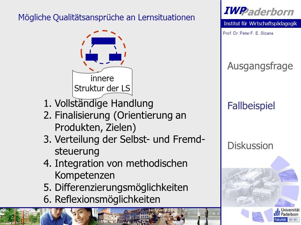 Institut für Wirtschaftspädagogik Prof. Dr. Peter F. E. Sloane Paderborn IWP Mögliche Qualitätsansprüche an Lernsituationen innere Struktur der LS 1.V