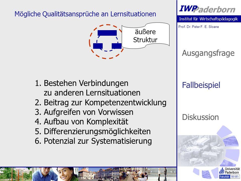 Institut für Wirtschaftspädagogik Prof. Dr. Peter F. E. Sloane Paderborn IWP Mögliche Qualitätsansprüche an Lernsituationen äußere Struktur 1.Bestehen