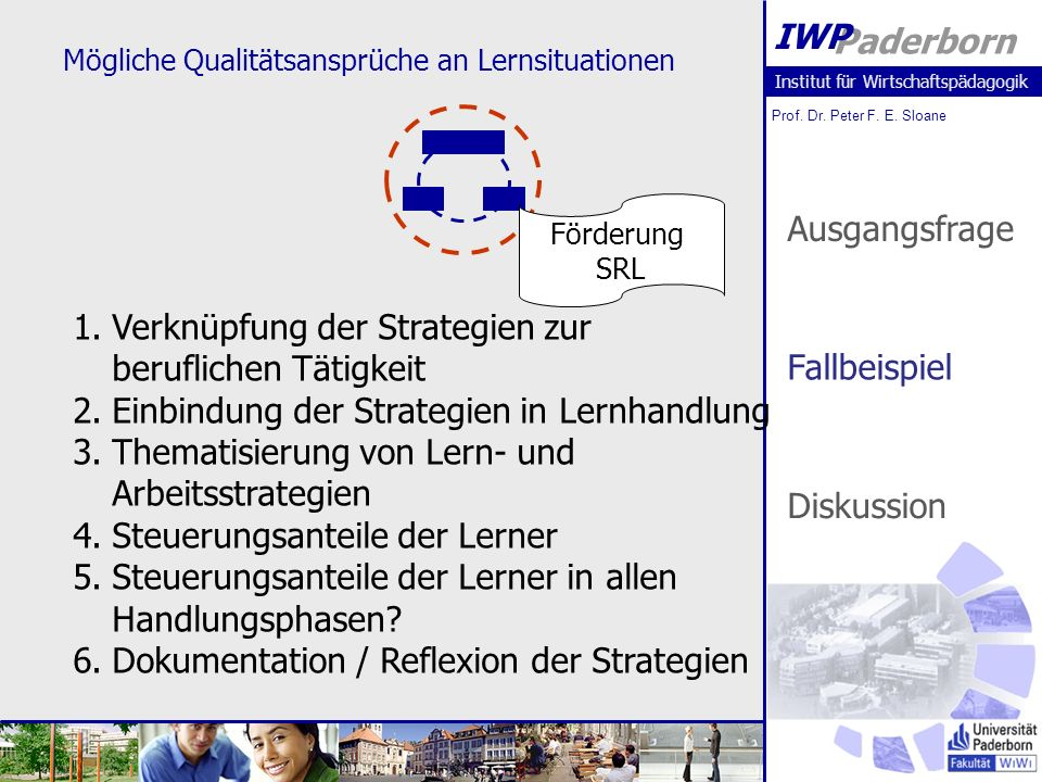 Institut für Wirtschaftspädagogik Prof. Dr. Peter F. E. Sloane Paderborn IWP Mögliche Qualitätsansprüche an Lernsituationen Förderung SRL 1.Verknüpfun