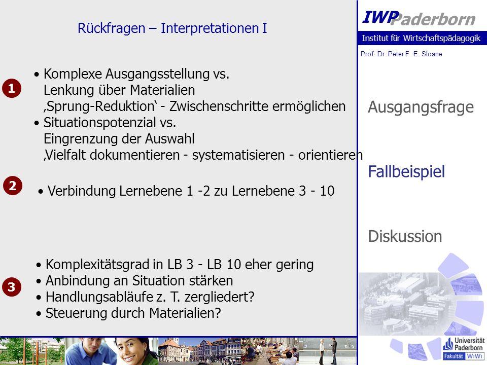 Institut für Wirtschaftspädagogik Prof. Dr. Peter F. E. Sloane Paderborn IWP Rückfragen – Interpretationen I 1 2 3 Komplexe Ausgangsstellung vs. Lenku