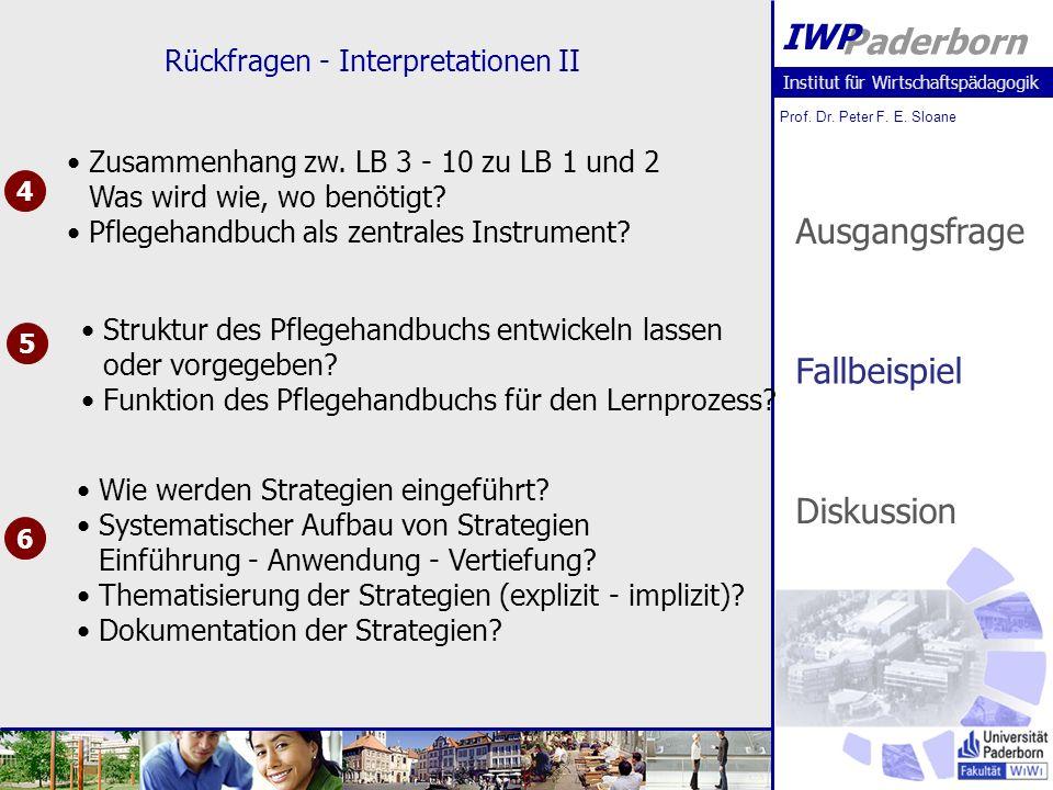 Institut für Wirtschaftspädagogik Prof. Dr. Peter F. E. Sloane Paderborn IWP Rückfragen - Interpretationen II 4 5 6 Zusammenhang zw. LB 3 - 10 zu LB 1